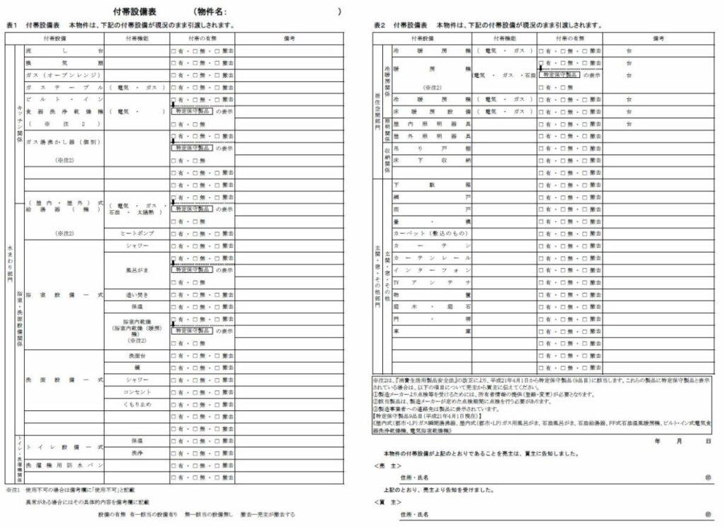 付帯設備表